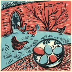 Celia Hart  linocuts and woodcuts  'Five eggs' 21 x 21 cm