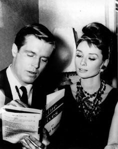 Audrey Hepburn and George Peppard on the set of Breakfast at Tiffany's in 1960.