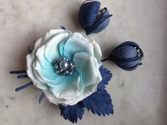 Denim rose brooch denim flowers pin/ clip denim by denimFlowers