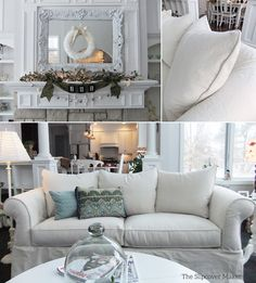 Natural Denim Slipcover Makes Old Sofa New Again | Pinterest | Floral Sofa,  Canvases And Floral