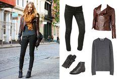 Awesome leather jacket. I like how everything's neutral and kinda boyish, and then bam! orange scarf.