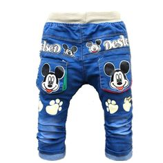 Nice 2017 New Cartoon Printed Baby Boys Denim Pants Elastic Waist Casual Toddler Kids Girls Trousers Children's Jeans for 2-4 Years - $16.44 - Buy it Now!