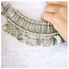 """Lightweight Silver coin statement necklace Brand new fabulous Turkish coin necklace // One of my favorites from this collection // silver color // brand new in plastic // smaller version of the 2 I have available // On trend with the boho/travel style of the summer // Perfect statement piece that would be great at coachella or for high tea ☕☕☕ price is firm // no major store brand unless mentioned in """"brand""""section of listing Jewelry Necklaces"""