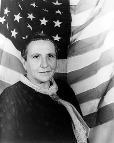 GERTRUDE STEIN (1874-1946): American art collector of seminal modernist paintings. Born in US, moved to Paris in 1903. For some 40 years, her home on the Left Bank of Paris would become a renowned gathering place for expatriate American artists and writers, and others noteworthy in the world of vanguard arts and letters. Entrée in the Stein salon was a sought-after validation. She for example introduced Matisse and Picasso.