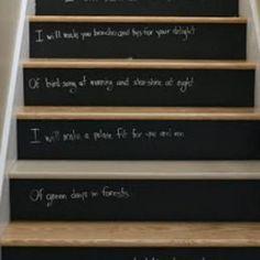chalk board stair risers Diy Chalkboard Paint, Chalkboard Ideas, Chalk Paint, Blackboard Chalk, Chalk It Up, Chalk Board, Escalier Design, Stair Risers, Diy Stair
