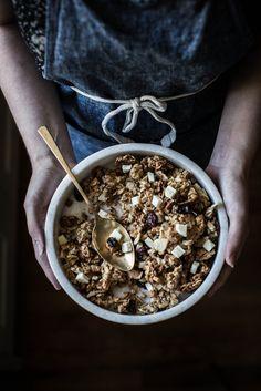 white chocolate + cherry + macademia + coconut granola recipe