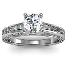 Engraved Antique Princess Cut Diamond Engagement Ring set in 18k White Gaold