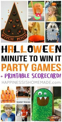 Halloween Minute to Win It Party Games - Host the best Halloween party ever with these hilarious Halloween Minute to Win It party games – everyone from toddlers to grandmas will want to play! These Halloween Minute to Win It games are perfect for all ages