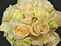 Ivory roses, white spray roses and white calla lilies