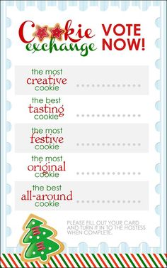 Cookie Exchange Party {free printables} Christmas Exchange Ideas, Staff Christmas Party Ideas, Christmas Drinks, Christmas Movies, Christmas Toys, Holiday Parties, Christmas Ornaments, Christmas Entertaining, Christmas 2016