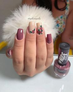 25 Modelos de Unhas decoradas com Esmalte - Love Nails, Pretty Nails, Gorgeous Nails, Cute Acrylic Nails, Gel Nails, Finger Nail Art, Healthy Nails, Types Of Nails, Stylish Nails