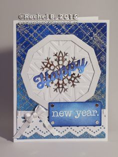Impression Obsession stamps : Cover-A-Card Snowflakes Cover-A-Card Dotted Argyle - Happy New Year - I. Happy Birthday Words, Impression Obsession, New Year Card, Card Making Inspiration, Distress Ink, Embossing Folder, Happy New Year, Snowflakes, Dots