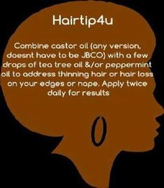 Your Hair Looking A Little Dull? Use This Great Advice To Get A Healthy Head Of Hair Hair tip for thinning hair - Castor Oil, Tea Tree Oil & Peppermint OilHair tip for thinning hair - Castor Oil, Tea Tree Oil & Peppermint Oil Natural Hair Loss Treatment, Natural Hair Care Tips, Natural Hair Styles, Hair Treatments, Natural Beauty, Organic Beauty, Castor Oil For Hair, Hair Oil, 4c Hair