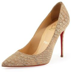 Christian Louboutin Decollete Snake-Print Cork Red Sole Pump, Beige