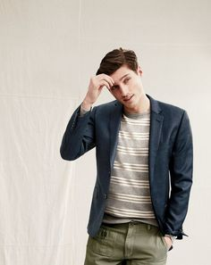 J.Crew men's Ludlow suit jacket with double vent and cotton-cashmere sweater in triple stripe.