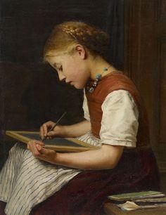 """Schoolgirl with homework / Schulmädchen bei den Hausaufgaben"". Albert Anker…"
