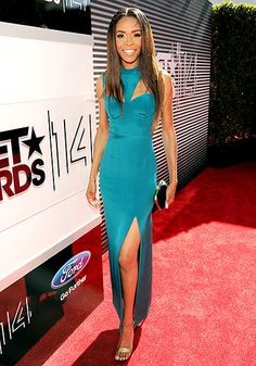 Michelle Williams wowed in a figure-hugging teal gown at the 2014 BET Awards.