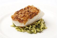Macadamia crusted black cod fillet with orzo