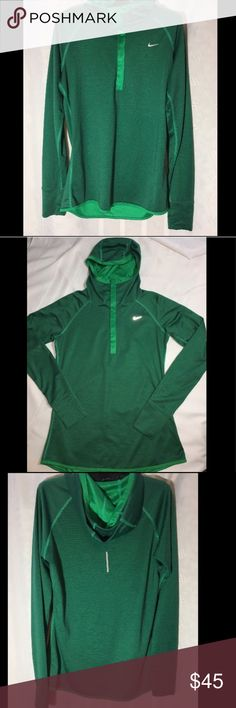 Hooded Nike Running Top with Thumb Holes, NWOT NWOT Dri-Fit Beautiful Green Nike Running Top dries quickly and does not wrinkle. Very comfortable and Light Weight. Snaps part way Nike Tops Sweatshirts & Hoodies