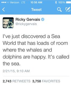 I've just discovered a Sea World that has loads of room where whales & dolphins are happy.  It's called the sea. ~Ricky Gervais.