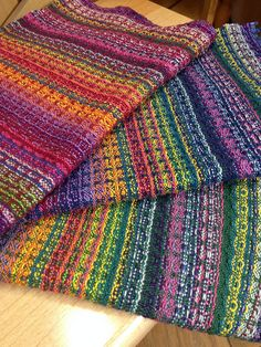 Ravelry: DebbieB's Handwoven Rainbow Candy Napkins No instructions, just inspiration. Multiple photos of these gorgeous handwoven napkins.