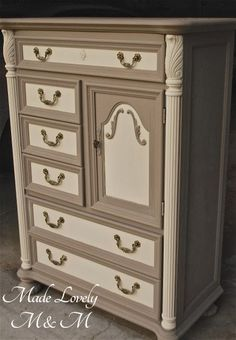 Gorgeous Dresser Flip Using Annie Sloan Coco and Old Ochre By Made Lovely M & M - Featured On Furniture Flippin' - www.FurnitureFlippin.com