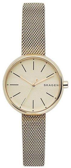 Skagen Women's Signatur Gold Mesh Watch Mesh Bracelet, Bracelet Watch, Mesh Armband, Skagen Watches, Stainless Steel Mesh, Quartz Watch, Gold Watch, Mineral, Crown