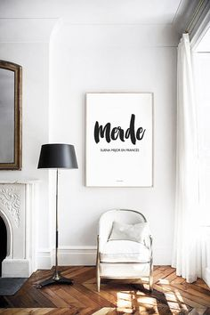 """MERDE, suena mejor en francés"" Artwork available on the webshop vontrueba.tictail.com #interior #artwork #lettering #styling"