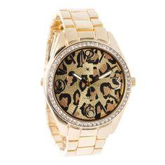 Glittery leopard print watch.