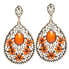 Pretty filigree earrings with a splash of orange.