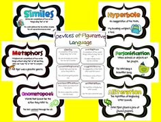 Similes, hyperbole, metaphors, personification,onomatopoeia, alliteration definition posters and worksheets