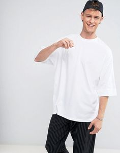33451827454286 ASOS Super Oversized T-Shirt With Deep Roll Sleeve - White Asos