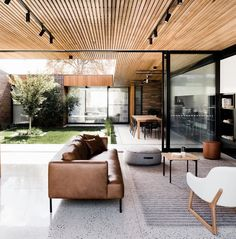 #livingroom #glasswalls #indooroutdoor #openplan | Polished concrete floors & timber ceilings