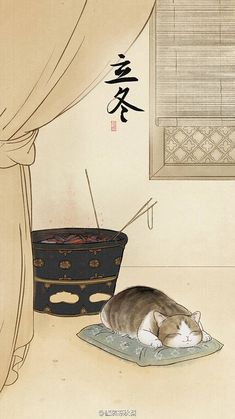 This is so cute, hilarious, elegantly and quirky-ily beautiful in it's simplicity. really like the genre of cute cat and oriental art put together.