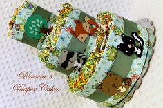 baby shower woodland creatures | Baby Diaper Cake Woodland Animals Forest Creatures Shower Gift or ...