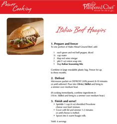 Power Cooking Italian Beef Hoagies www.pamperedchef.biz/marinaowens Host a Power Cooking Pampered Chef Show! #OAMC #freezermeals