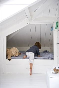 Trendy Bedroom Attic Kids Built In Bed Attic Spaces, Kid Spaces, Trendy Bedroom, Girls Bedroom, Alcove Bed, Built In Bed, Kb Homes, Attic Bedrooms, Building For Kids