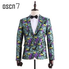 Floral Bird Embroidery Notch Lapel Fashion Party Blazer for Men Italy Style Slim Fit Blazers Fancy Jaqueta Masculina-in Blazers from Men's Clothing & Accessories on Aliexpress.com | Alibaba Group