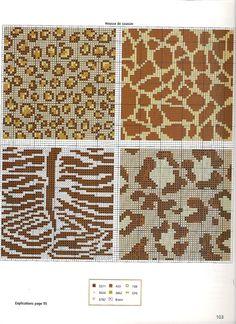 Animal Print Free Cross Stitch Pattern Chart 1 of 2 Tapestry Crochet Patterns, Fair Isle Knitting Patterns, Knitting Charts, Knitting Stitches, Crochet Cross, Crochet Chart, Loom Beading, Beading Patterns, Cross Stitch Designs