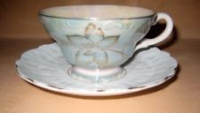 BEAUTIFUL SEA FOAM GREEN LUSTRE AYNSLEY TEA CUP AND SAUCER