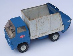 Vintage Tonka Garbage Truck Blue and White Trash Refuse Truck