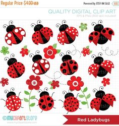 Clipart Pretty Red Ladybugs Digital Clip Art by MyClipArtStore Art Rouge, Ladybug Garden, Mothers Day Crafts For Kids, Clip Art, Digital Stamps, Digital Papers, Digital Scrapbooking, Party Packs, Cute Woman