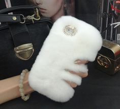 Fluffy Real Rabbit Fur Plush Soft Leather Phone Cover case for iphone 4s 5s 6 6plus
