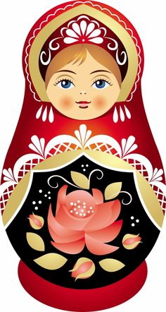 Matryoshka - Russian nesting doll. Vector clip art. #folk #art #Matryoshka #ornament