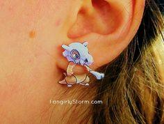 Cubone  Pokemon Clinging earrings Handmade kawaii gamer two part front and back post earrings