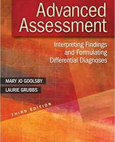 Advanced Assessment: Interpreting Findings and Formulating Differential Diagnoses 3rd edition Goolsby Test Bank Download: advanced assessment 3rd edition goolsby test bank Price: $19 Published: 2014 ISBN-10: 0803643632 ISBN-13: 978-0803643635