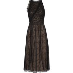 Jason Wu Cutout gathered lace midi dress ($865) ❤ liked on Polyvore featuring dresses, black, fitted midi dress, cutout back dresses, shirred lace dress, midi cocktail dress and lace dress