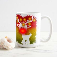 coffee mugs Christmas Lights - Rudolph the Red-Nosed Reindeer Coffee Mug Reindeer Makeup, Rudolph The Red, Red Nosed Reindeer, Christmas Lights, Coffee Mugs, Tableware, Christmas House Lights, Dinnerware, Tablewares