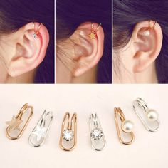 Black Gold Jewelry Non Piercing Gold Silver Plated Cartilage Ear Cuff Wrap Clip On Earrings Jewelry Cartilage Jewelry, Ear Jewelry, Cute Jewelry, Jewelery, Geode Jewelry, Jewelry Ideas, Ear Cuffs, Fashion Earrings, Fashion Jewelry