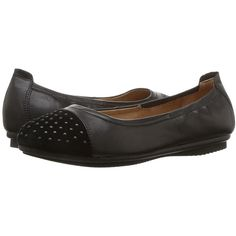 Josef Seibel Pippa 43 (Black Glove) Women's Flat Shoes ($115) ❤ liked on Polyvore featuring shoes, arch support flats, black slip-on shoes, kohl shoes, synthetic shoes and studded shoes